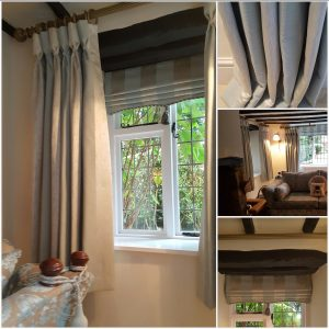 Gorgeous goblet curtains and roman blinds